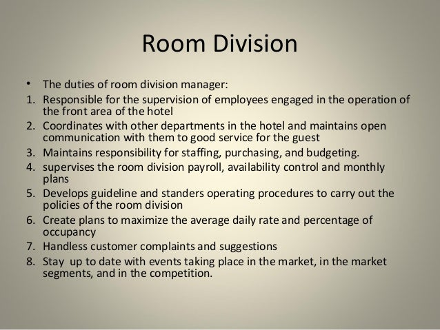 front office rooms division Learners will gain understanding of the role of the front office as the 'nerve centre' of customer activity with network communication links within and to 42 discuss sales techniques that rooms division staff can use to promote and maximise revenue.