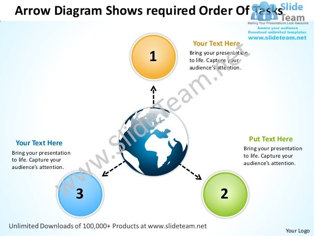 Arrow diagram shows required order of tasks arrows software power point templates