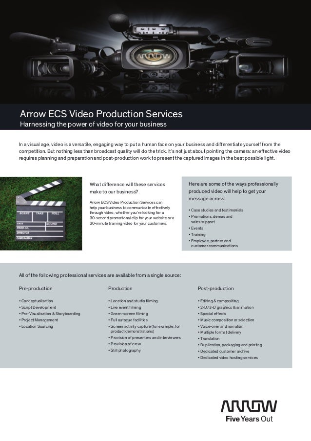 Arrow ECS Video Production ServicesHarnessing the power of video for your businessIn a visual age, video is a versatile, e...