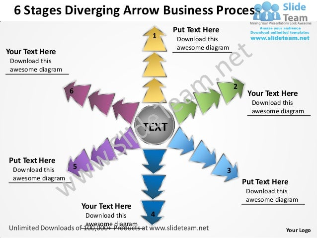 6 Stages Diverging Arrow Business Process                                                  Put Text Here                  ...