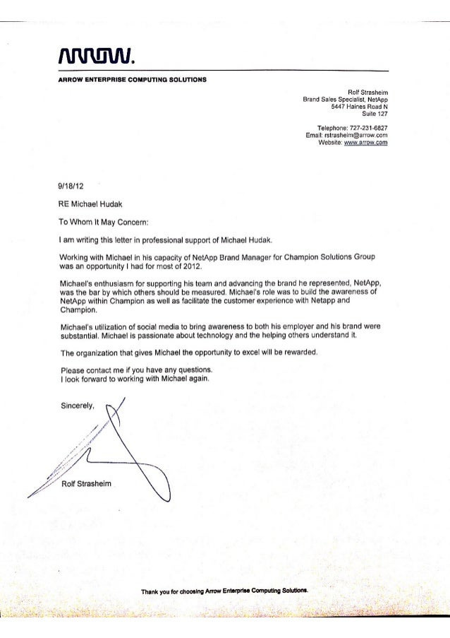 Arrow Reference Letter, I thank you Arrow Electronics