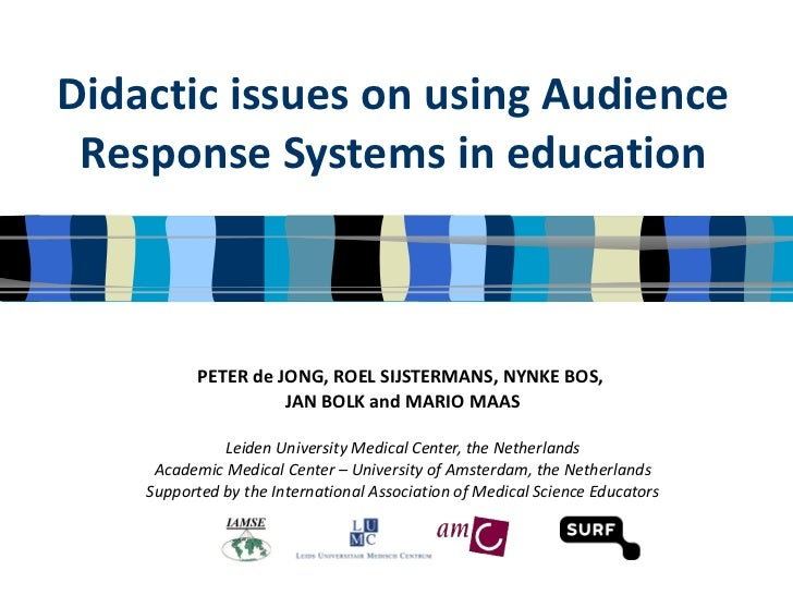 Didactic issues on using Audience Response Systems in education