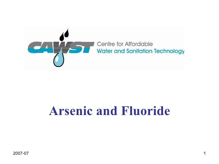Arsenic And  Fluoride  Presentation