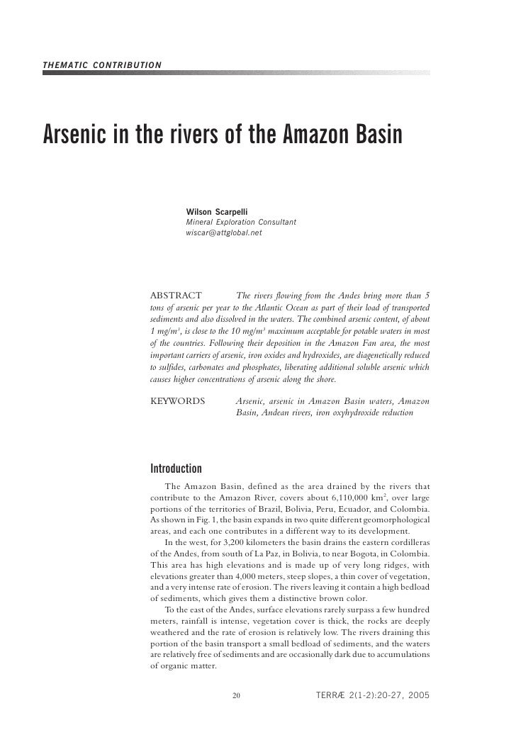 Arsenic In The Rivers Of The Amazon Basin