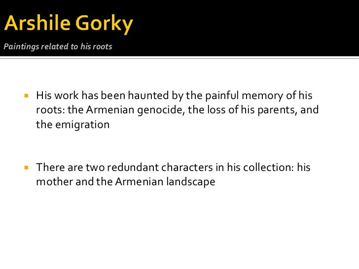 a biography of arshile gorky a turkish painter Paintings nationality: american birth place: armenia (asia) biography: a survivor of genocide in turkey, arshile gorky had a childhood riddled with misfortune although gorky's exact date of.