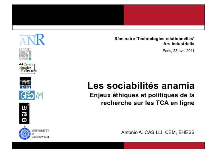 Séminaire 'Technologies relationnelles'                                       Ars Industrialis                            ...