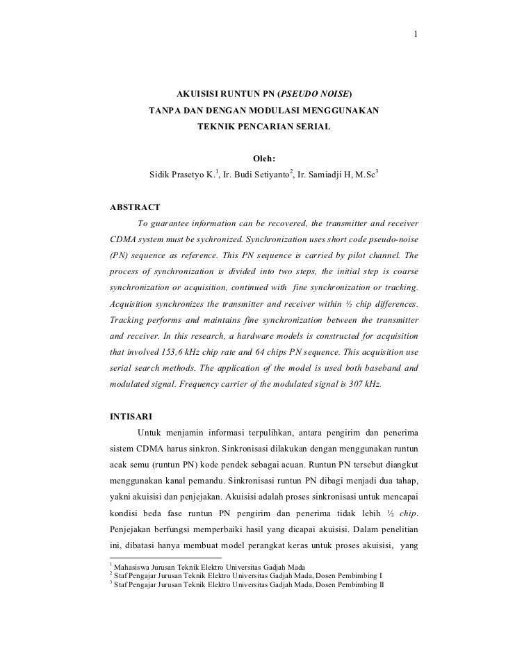 Akuisisi Runtun Pseudo Noise Tanpa Dan Dengan Modulasi Menggunakan Teknik Pencarian Serial