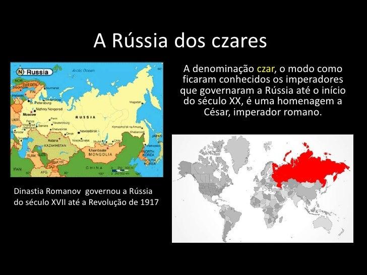 A Rússia dos czares<br />A denominação czar, o modo como ficaram conhecidos os imperadores que governaram a Rússia até o i...