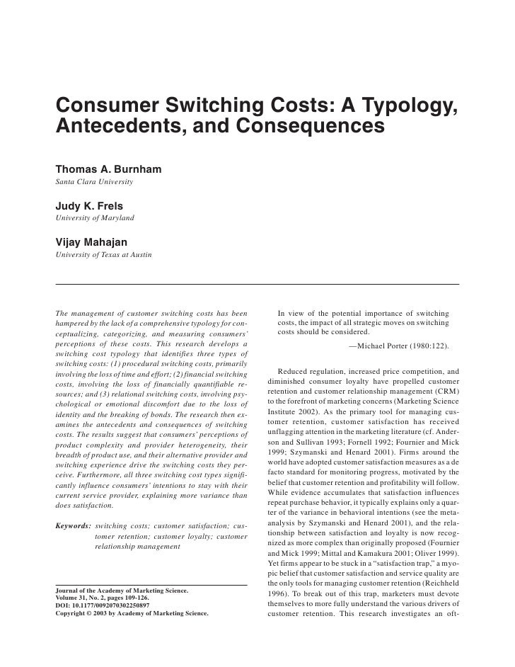 ARTICLE JOURNAL OF THE ACADEMY et al. / CONSUMER SWITCHING COSTS                  Burnham OF MARKETING SCIENCE            ...