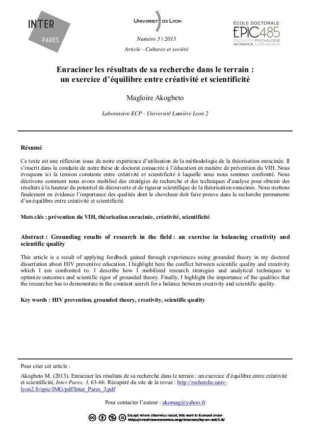 Numéro 3   2013 Article - Cultures et société Enraciner les résultats de sa recherche dans le terrain : un exercice d'équi...