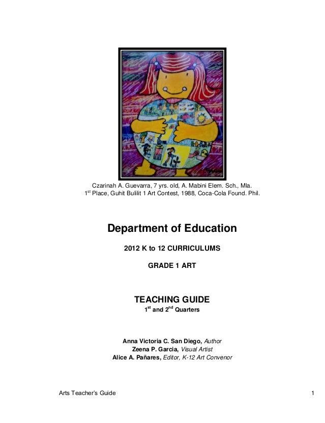 Arts Teacher's Guide 1 Czarinah A. Guevarra, 7 yrs. old, A. Mabini Elem. Sch., Mla. 1st Place, Guhit Bulilit 1 Art Contest...