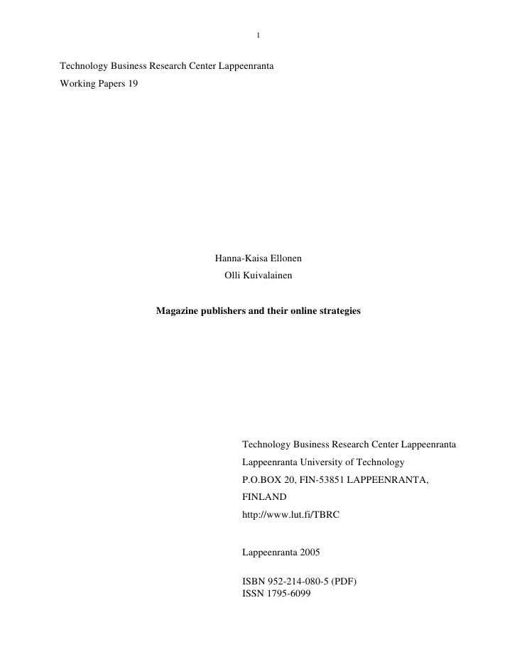 1   Technology Business Research Center Lappeenranta Working Papers 19                                       Hanna-Kaisa E...