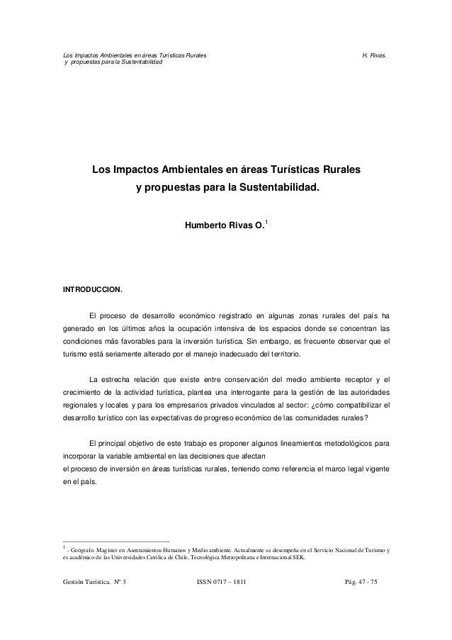 Los Impactos Ambientales en áreas Turísticas Rurales H. Rivas. y propuestas para la Sustentabilidad Los Impactos Ambiental...