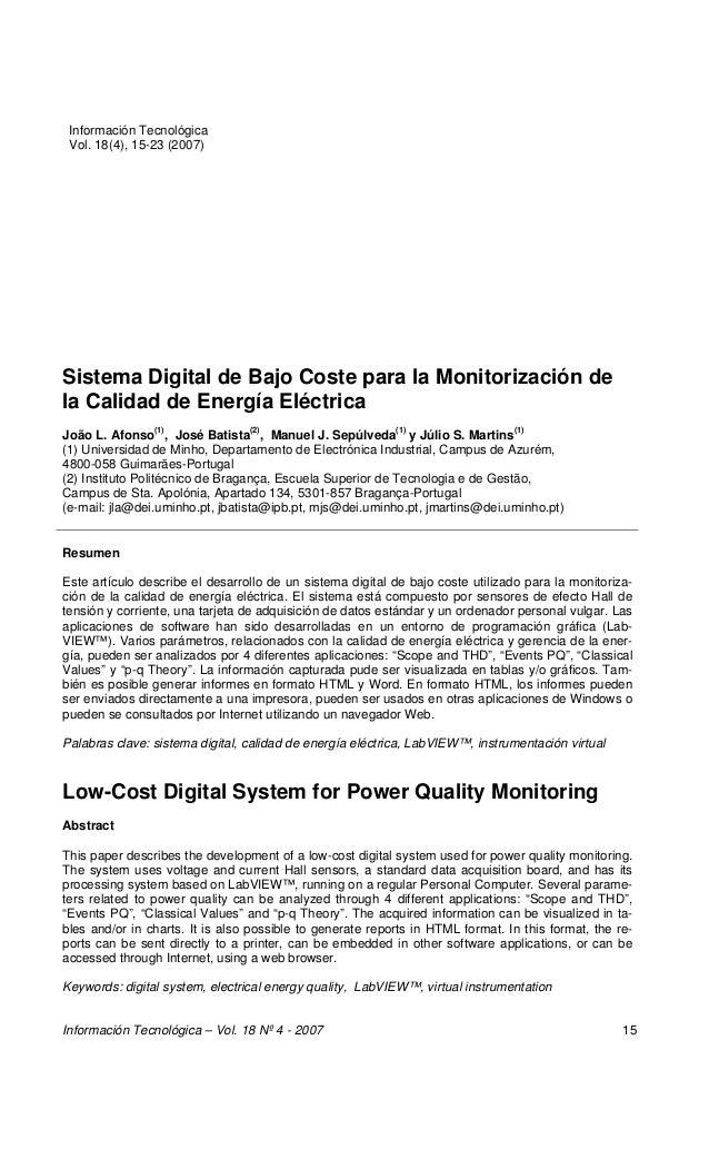 Sistema Digital de Bajo Coste para la Monitorización de la Calidad de Energía Afonso Sistema Digital de Bajo Coste para la...