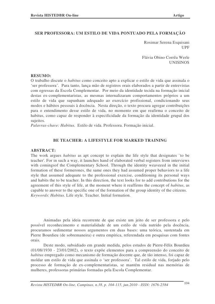 Revista HISTEDBR On-line                                                              Artigo  SER PROFESSORA: UM ESTILO DE...