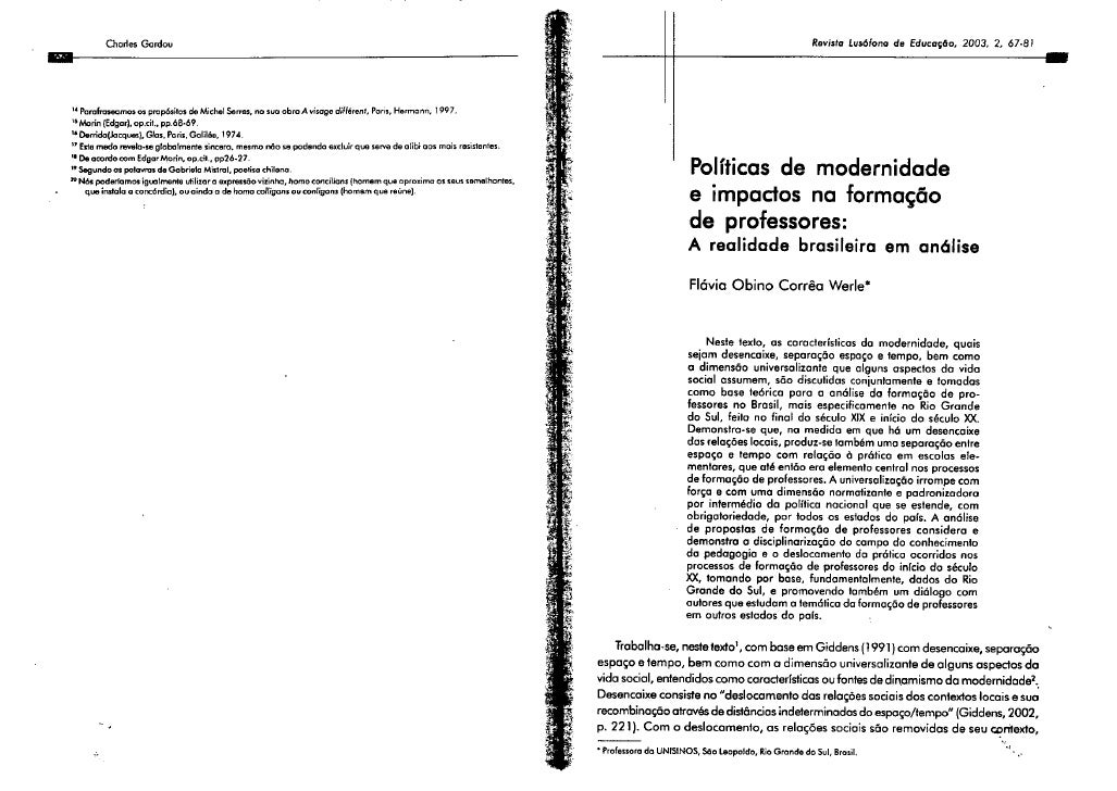 Políticas de modernidade e impactos na formação de professores: a realidade brasileira em análise