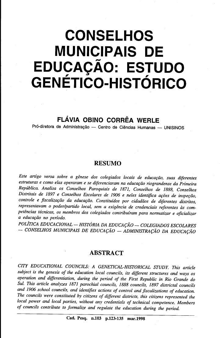Conselhos Municipais de Educação: Estudo Genetico-Histórico