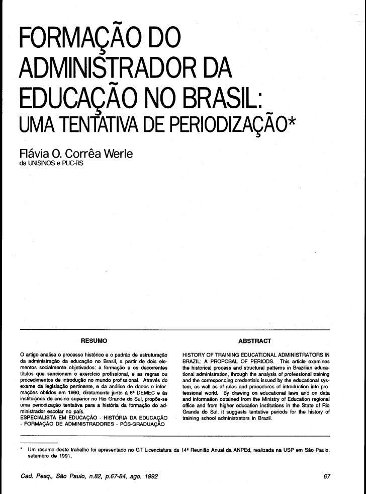Formação do Administrador no Brasil: tentativa de periodização