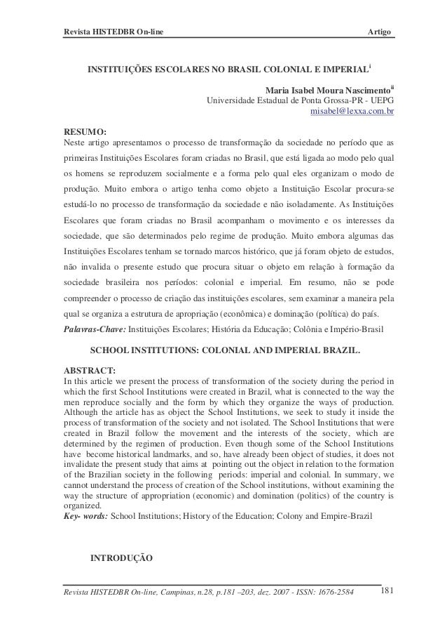 INSTITUIÇÕES ESCOLARES NO BRASIL COLONIAL E IMPERIAL Art12 28
