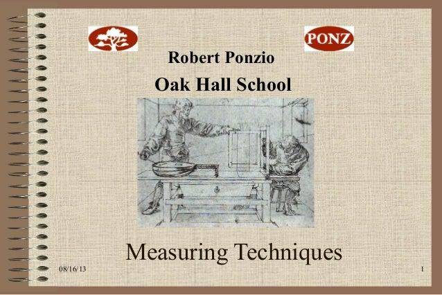 08/16/13 1 Measuring Techniques Ponz Oak Hall School Robert Ponzio