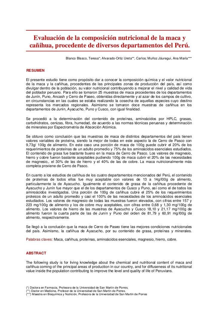 Evaluación de la composición nutricional de la maca y  cañihua, procedente de diversos departamentos del Perú.            ...