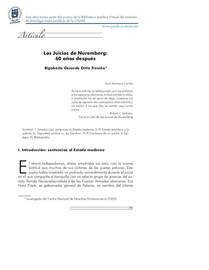 Artículo                   Los Juicios de Nuremberg:                        60 años después                    Rigoberto G...