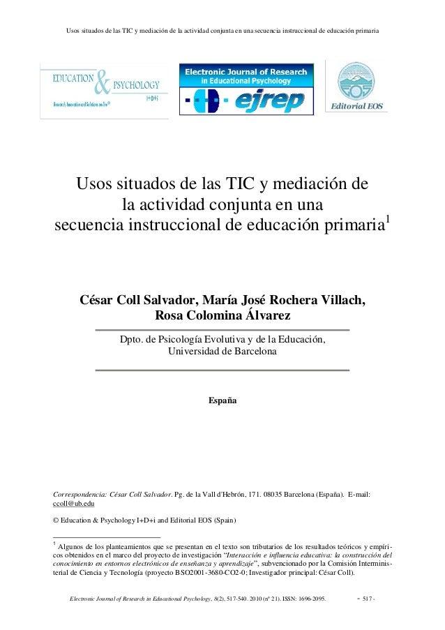 Usos situados de las TIC y mediación de la actividad conjunta en una secuencia instruccional de educación primaria Electro...