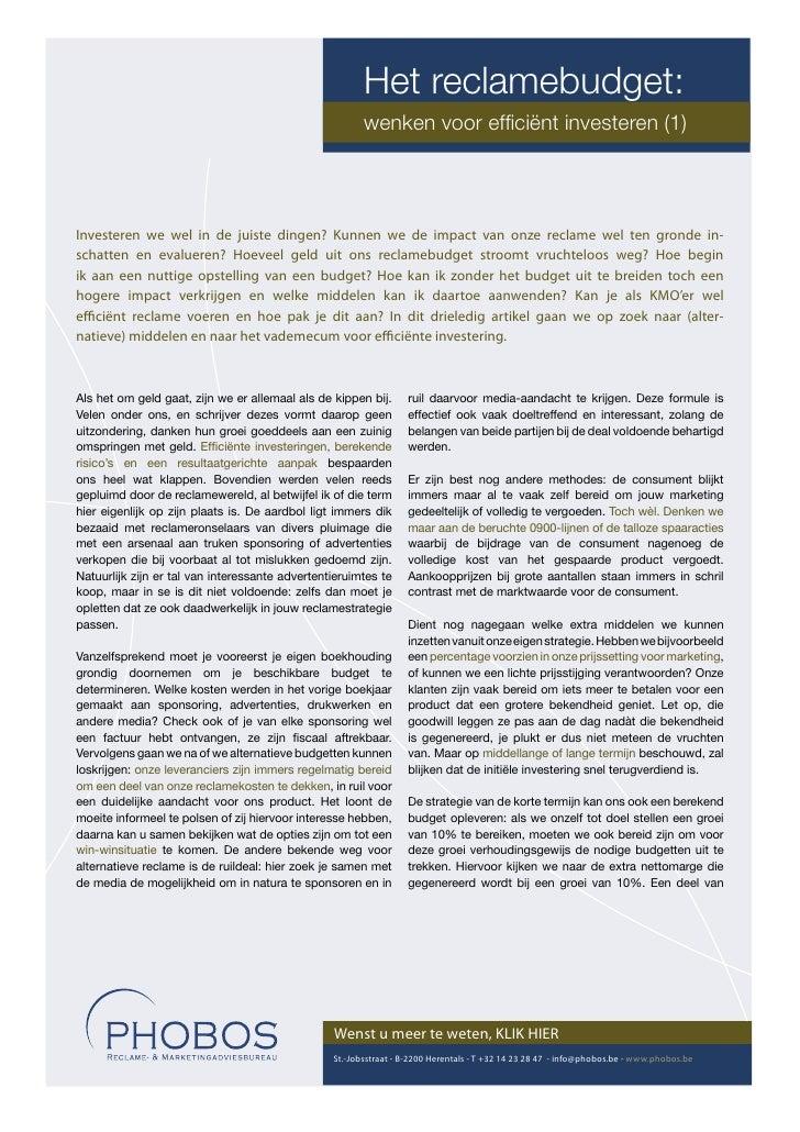 Het reclamebudget:                                                         wenken voor efficiënt investeren (1)     Investe...