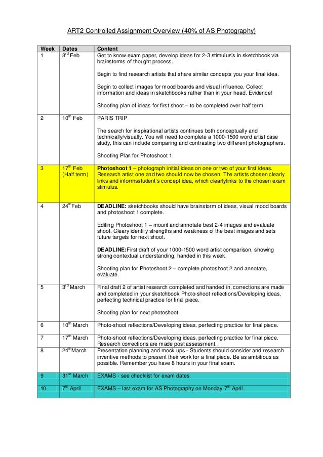 ART2 Controlled Assignment Overview (40% of AS Photography) Week 1  Dates rd 3 Feb  Content Get to know exam paper, develo...