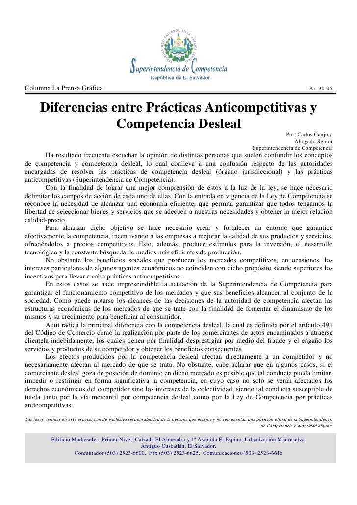 Diferencias entre Prácticas Anticompetitivas y Competencia Desleal Art 30 06