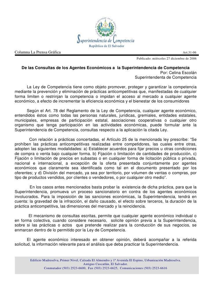 De las Consultas de los Agentes Económicos a la Superintendencia de Competencia Art 31 06