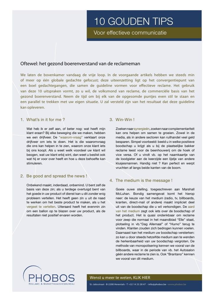 10 GOUDEN TIPS                                                   Voor effectieve communicatie     Oftewel: het gezond boer...