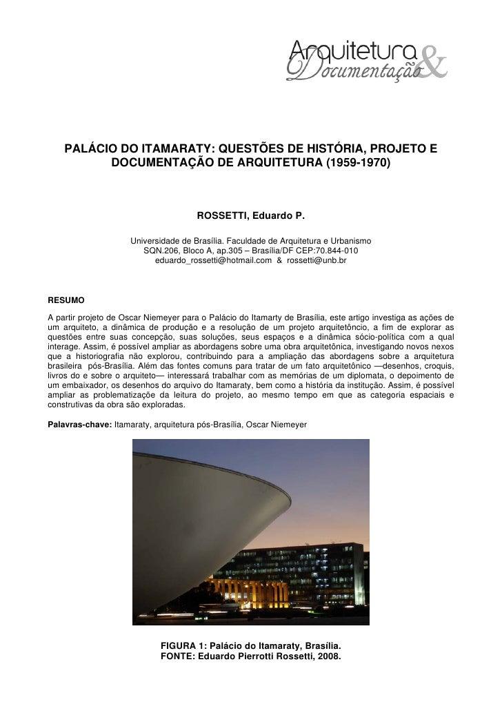 Palácio do Itamaraty: questões de história, projeto e documentação de arquitetura (1959-1970)