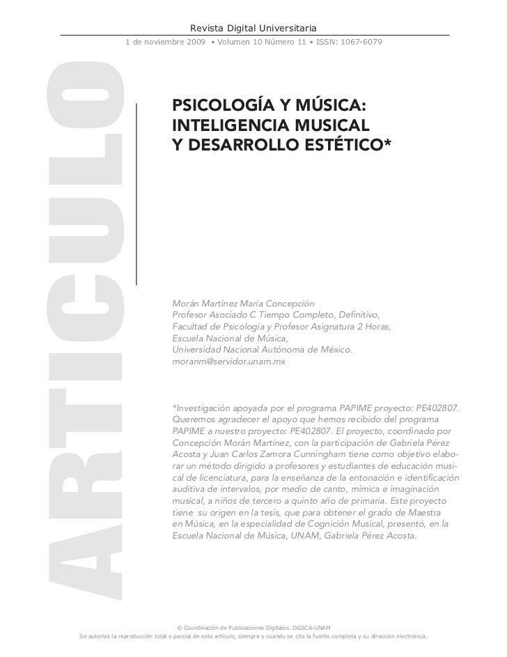 Revista Digital Universitaria                 1 de noviembre 2009 • Volumen 10 Número 11 • ISSN: 1067-6079                ...