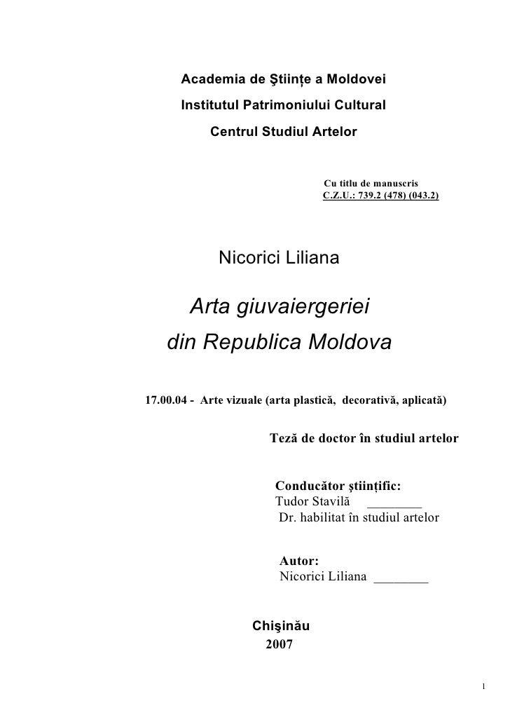 Academia de Ştiinţe a Moldovei       Institutul Patrimoniului Cultural             Centrul Studiul Artelor                ...