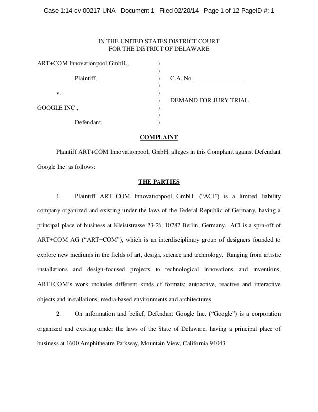 Case 1:14-cv-00217-UNA Document 1 Filed 02/20/14 Page 1 of 12 PageID #: 1  IN THE UNITED STATES DISTRICT COURT FOR THE DIS...