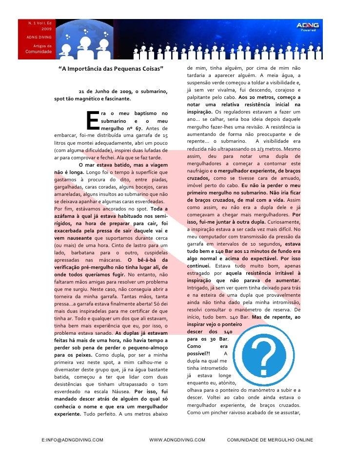 """N. 1 Vol I. Ed         20009 ADNG DIVING     Artigos da Comunida        ade                       """"AImp                  ..."""