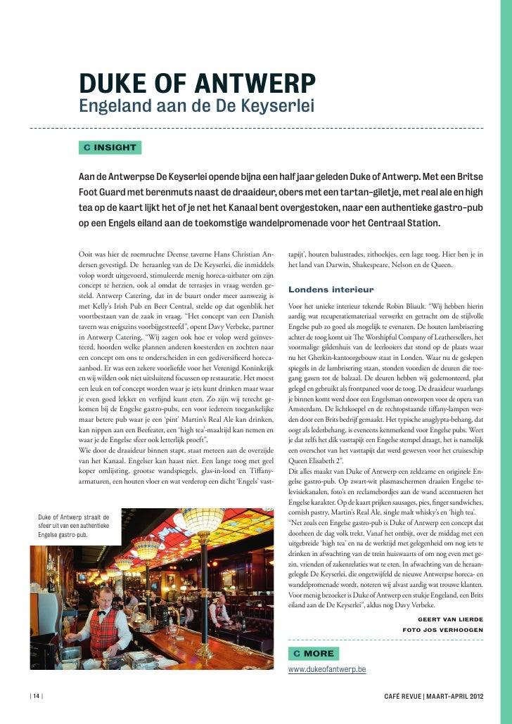 Article Café Revue Duke of Antwerp