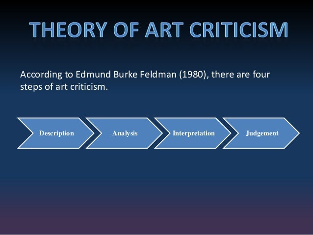 feldman model art criticism essay Description analysis interpretation judgement according to edmund burke feldman (1980), there are four steps of art criticism 4 detail observation to recognize the subject in the artworks.