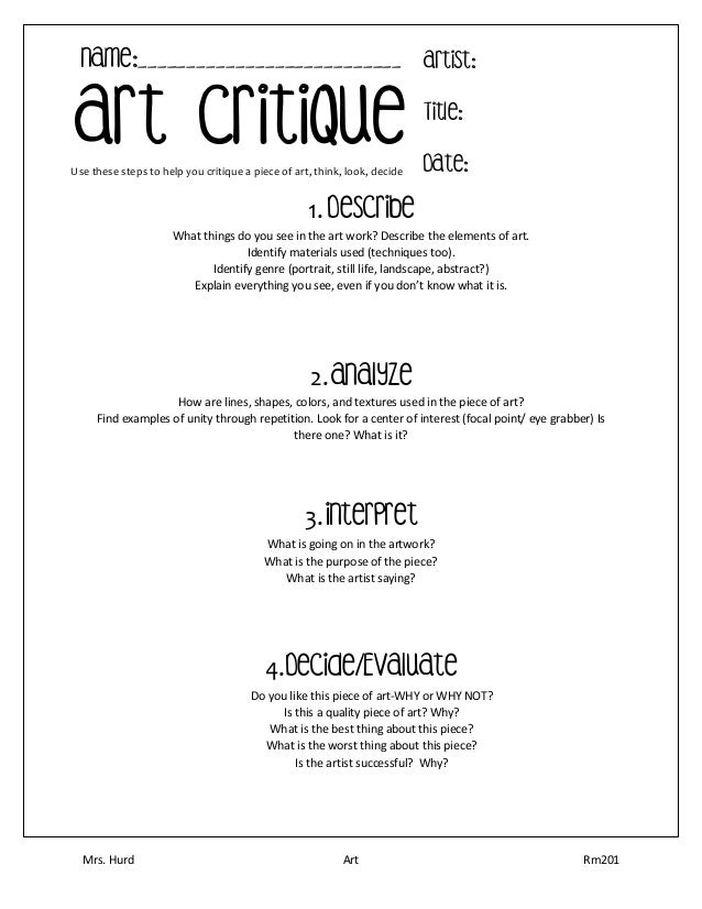 Pictures Art Analysis Worksheet - Studioxcess