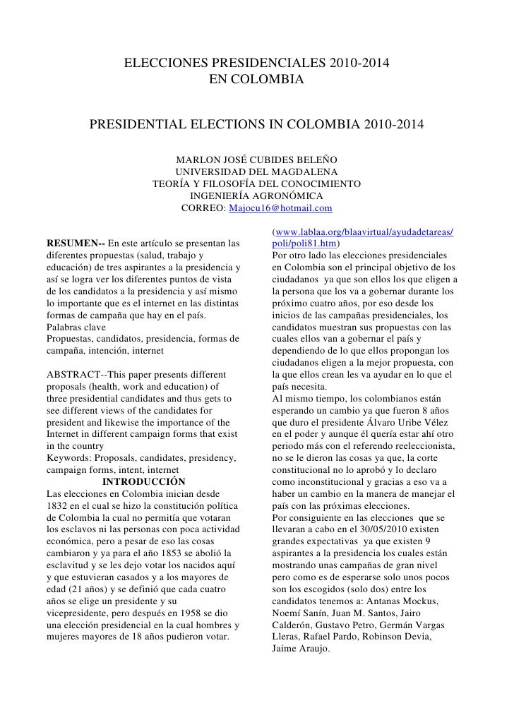 ELECCIONES PRESIDENCIALES 2010-2014<br />EN COLOMBIA<br />PRESIDENTIAL ELECTIONS IN COLOMBIA 2010-2014<br />(1 votes) <br ...