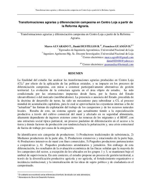Transformaciones agrarias y diferenciación campesina en Centro Loja a partir de la Reforma Agraria.Transformaciones agrari...