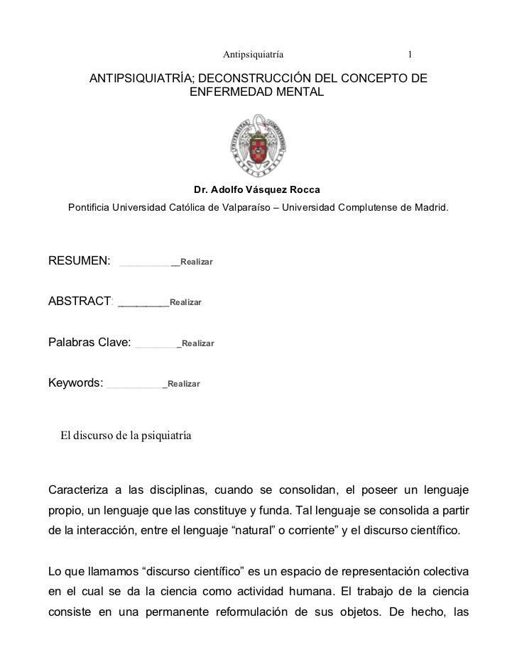Antipsiquiatría                       1        ANTIPSIQUIATRÍA; DECONSTRUCCIÓN DEL CONCEPTO DE                       ENFER...