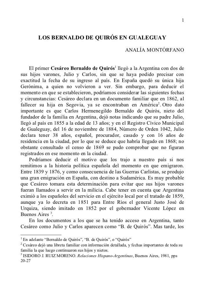 1          LOS BERNALDO DE QUIRÓS EN GUALEGUAY                                                            ANALÍA MONTÓRFAN...