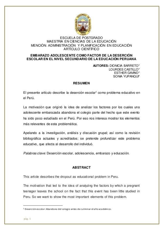 pág. 1 ESCUELA DE POSTGRADO MAESTRIA EN CIENCIAS DE LA EDUCACIÓN MENCIÓN: ADMINISTRACIÓN Y PLANIFICACIÓN EN EDUCACIÓN ARTÍ...