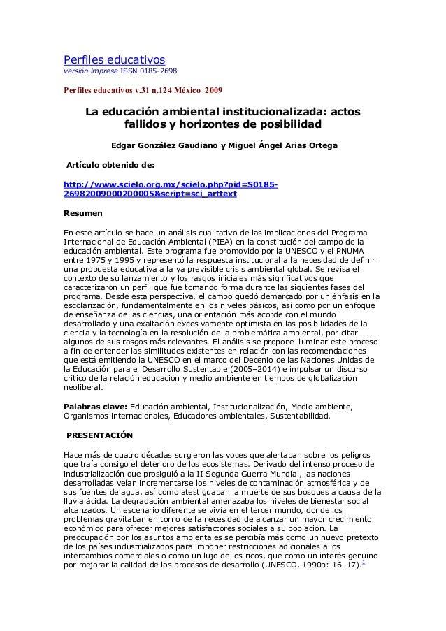 Perfiles educativosversión impresa ISSN 0185-2698Perfiles educativos v.31 n.124 México 2009     La educación ambiental ins...