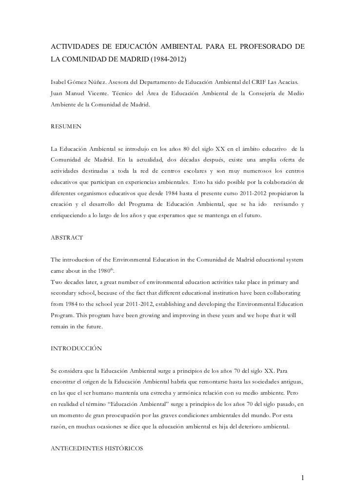 Artículo educación ambiental enero 2012