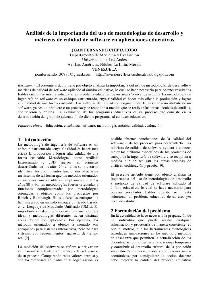 Análisis de la importancia del uso de metodologías de desarrollo y métricas de calidad de software en aplicaciones educativas.