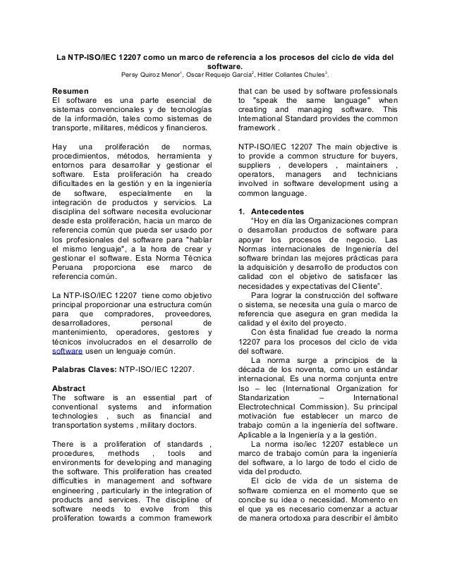 La NTP-ISO/IEC 12207 como un marco de referencia a los procesos del ciclo de vida del software. Persy Quiroz Menor1, Oscar...