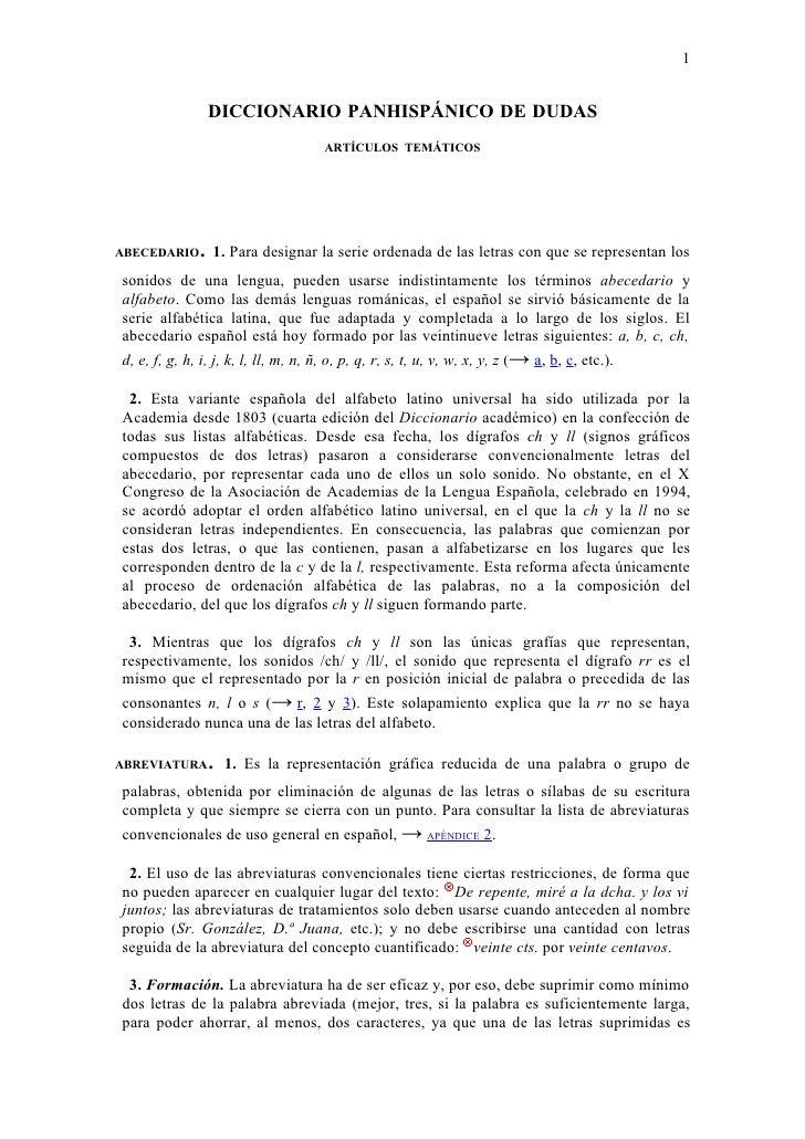 1                 DICCIONARIO PANHISPÁNICO DE DUDAS                                  ARTÍCULOS TEMÁTICOS     ABECEDARIO.  ...
